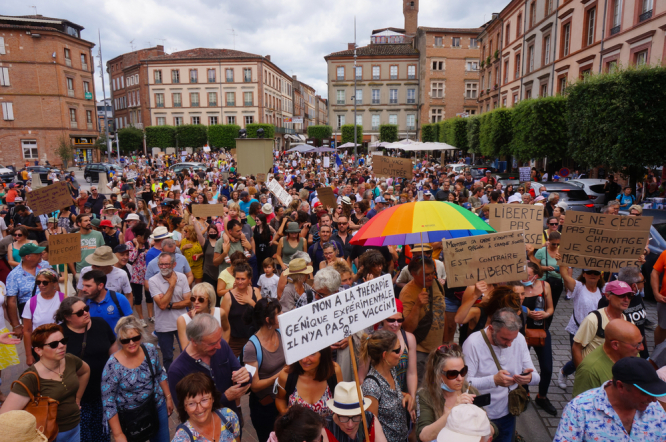 Demonstrators gather in Albi (Occitanie) to protest the Covid health pass and mandatory vaccination measures on July 17