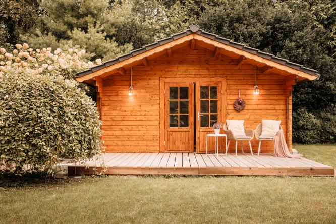 Outdoor shed or garden house in a garden outdoors