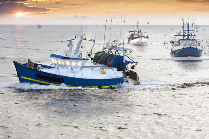 Fishing boats off the coast of France