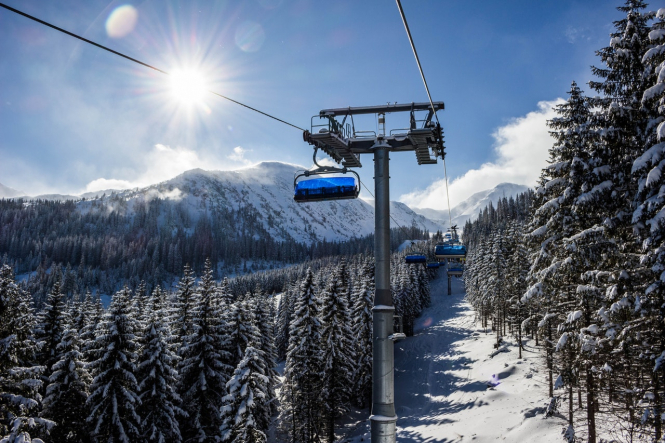 Ski lifts on a sunny snowy mountain. Fears for ski season as ski lifts stay closed in France