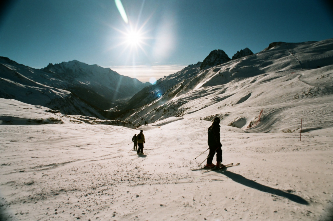 Skiers on a mountain. French ski stations closing over Christmas 'a cold shower'