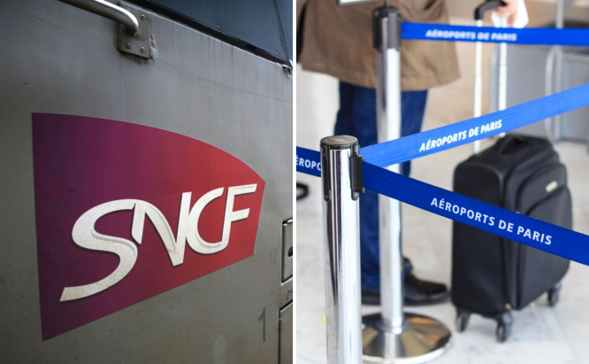SNCF logo and Airports of Paris tape. Train and airport strikes in France: Delays possible this weekend
