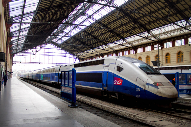 SNCF train at the platform. Family railcard holders eligible for new €1 SNCF travel discount card