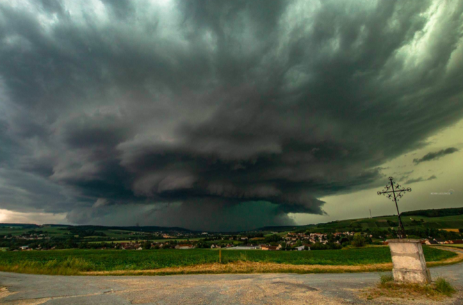 Storm clouds gather near Reims on Monday afternoon. Person missing after storms cause flash floods in north France
