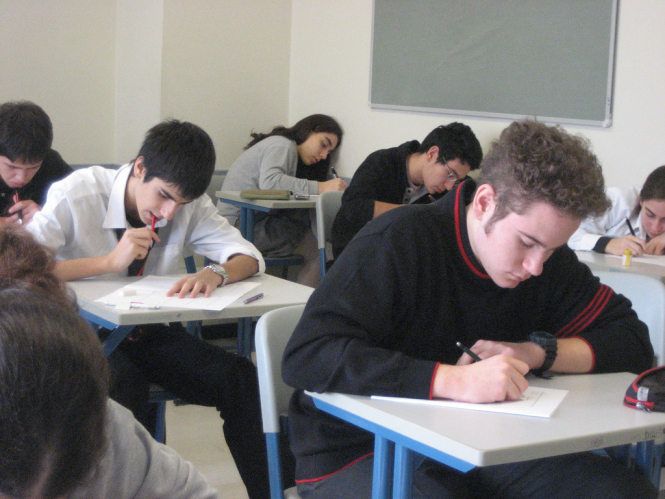 Students undertaking an exam