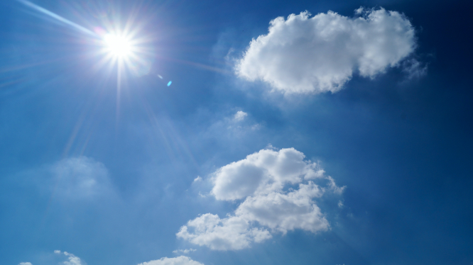 Sun against blue sky. Record-breaking hot weather is forecast in France this week