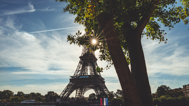 Sunshine coming through a tree by the Eiffel Tower. Meteo France have released heatwave and storm alerts throughout France today.
