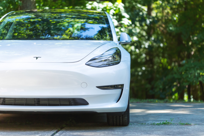 An all electric Tesla Model 3. Tesla tops list of electric cars sold in France in 2021