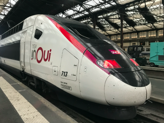 A TGV Inoui train waiting at the platform. SNCF to will take passengers' temperatures before they board TGV Inoui trains, on a voluntary basis.