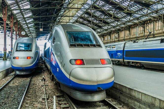 an image of three TGV trains in Paris's Gare de Lyon station