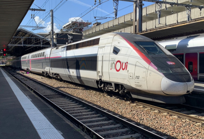 A TGV train in the south of France. 'Funny moment' as TGV train 'misses' station in south France Nimes Pont du Gard station