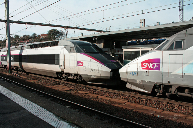 Two TGV trains nose to tail