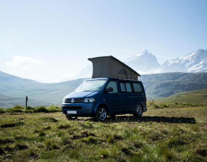 The 180 days visa-free campaign fights for second home-owners' rights. Pictured: campervan stops to enjoy the view at Plateau d'Emparis, La Grave, France.
