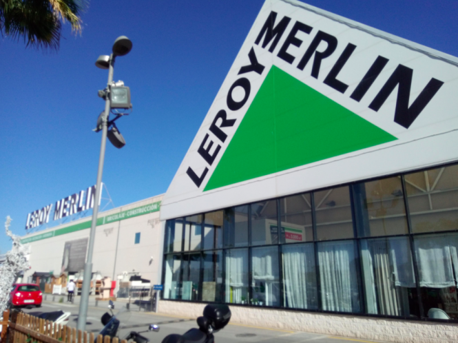 The facade of a Leroy Merlin store. DIY retailer Leroy Merlin voted France's favourite shop for 2021