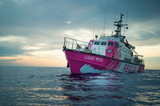 The MV Louise Michele Mediterranean rescue boat. The mayor of Marseille has said the door of the city is open to refugees who were on board the Banksy-funded refugee rescue boat.