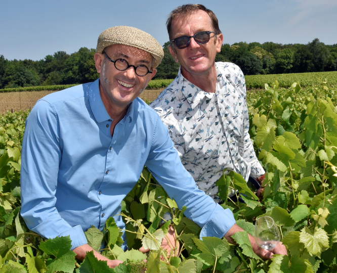 The royal wine that has been reborn once again. Pictured: Jean-Michel Poiron-Dabin with brother Laurent in the vines. Connexion October print edition