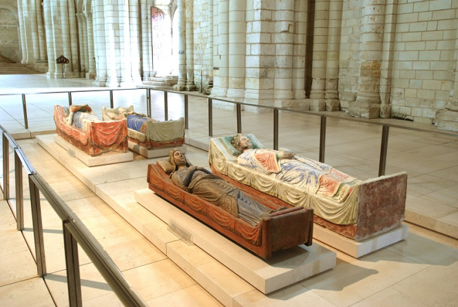 The tombs of Richard, Eleanor of Aquitaine, Henry II and Isabelle at Fontevraud.