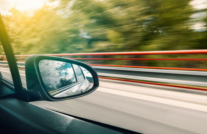 The wing mirror or a speeding car. How to spot unmarked speed control cars on French roads.