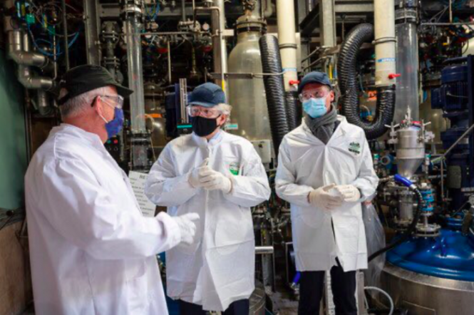 Thierry Breton visiting a factory near Dijon. Pfizer vaccine production to start in France this week