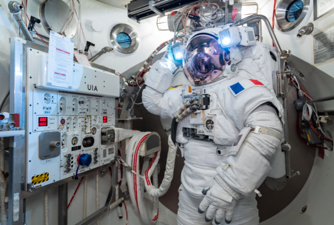 Thomas Pesquet in space suit. French astronaut next International Space Station commander
