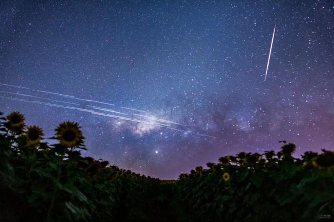 Trails from Starlink satellites in night skies over Brazil. High-speed Starlink satellite internet access now available in France