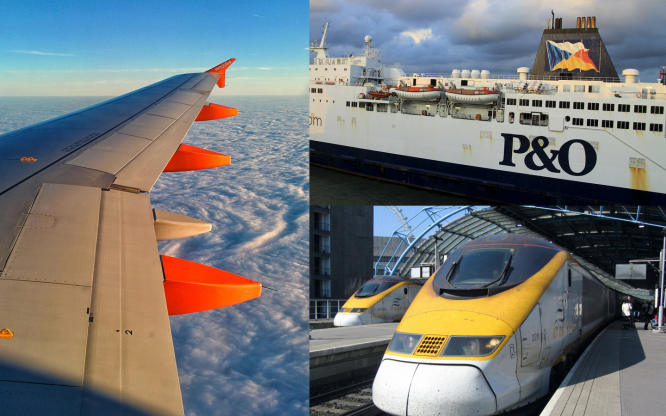 Combined image of a plane wing above clouds on the left, a P&O ferry and a train on the right