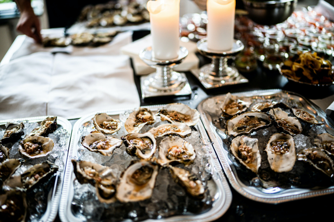 Trays of oysters on a table. French farmer's clever trick to stop December oyster theft