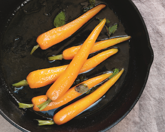 Carrots in a Lemon Verbena Glaze, a French recipe from Trish Deseine's new cookbook, 'C'est bon'