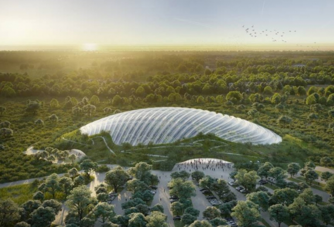 An artist's impression of the huge glass dome from above. Eco protest at Tropicalia greenhouse site in north France