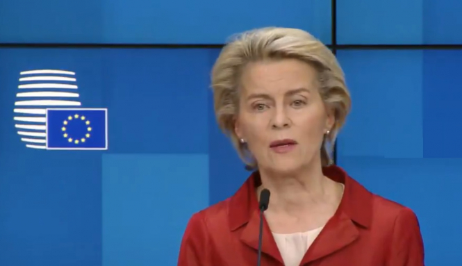 European Commission president Ursula von der Leyen speaking at the press conference. EU in €220m plan to transfer Covid patients between states