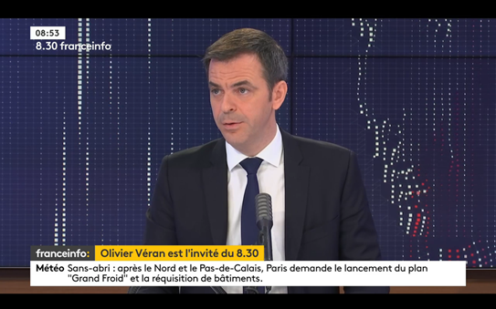 Health Minister Olivier Veran speaks on FranceInfo. France Covid-19: Vaccines on track and no new lockdown