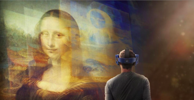 Virtual reality Mona Lisa from the Louvre. French museums offerings art, culture, history from home