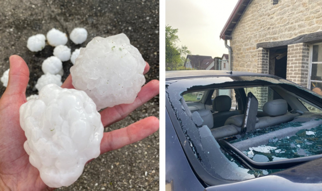 Man holds huge hailstones, next to a photo of smashed back car windscreen. Photos: Tornado, huge hailstones and floods in France weather chaos