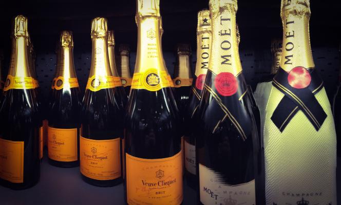 Bottles of Veuve Clicquot and Moët et Chandon Champagne