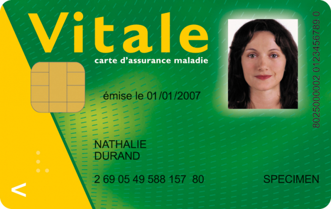 Specimen image of the French carte vitale health card