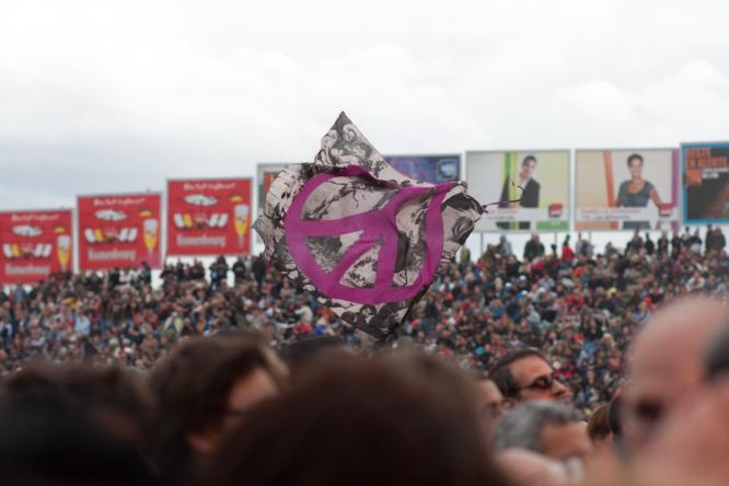 Crowds at a popular festival in France, the Fete de l'Humanite