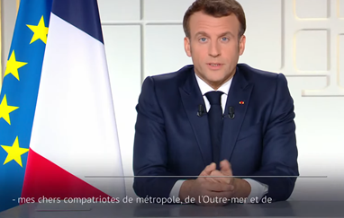 President Macron speaking in a televised address. Macron: Semi-confinement to extend to all France, schools to close