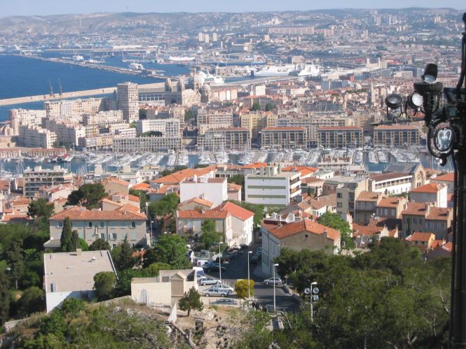 A long view of the ports of Marseille