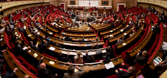 The Assemblee Nationale hemicycle. France to extend state of health emergency amid record cases