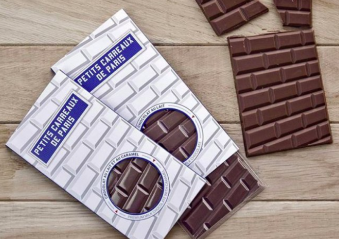 bar of chocolate designed to resemble the wall tiles of the Paris Metro system
