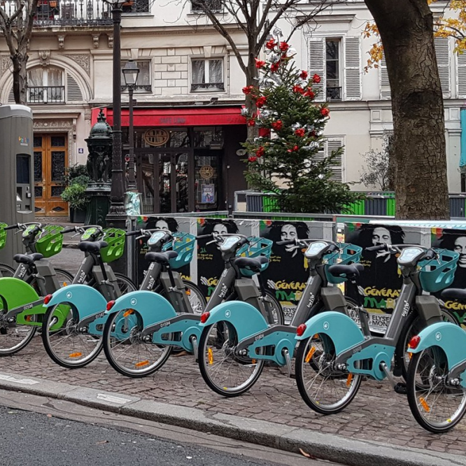 Smovengo velib bikes at a station in Paris