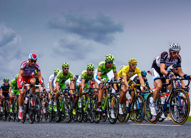 Tour de France riders on road