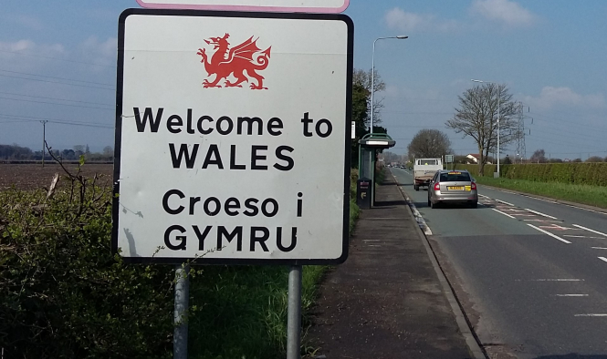 Road sign saying Welcome to Wales