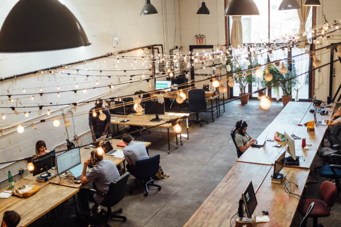 What is coworking, where did it come from and how can it help people get back to work whilst socially distancing? Pictured: a coworking space in the US, where coworking was imported from.