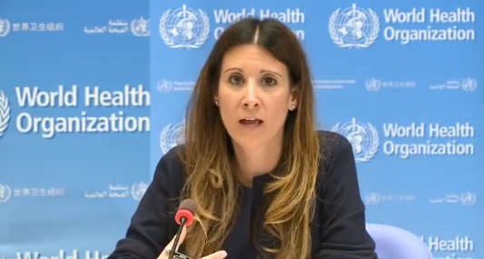Maria Van Kerkhove speaks at the WHO. She has since sought to clarify her 'asymptomatic' claim, which was disputed by a French professor among others