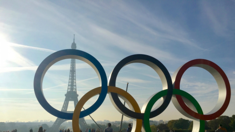Olympic games symbol on Trocadero place in front of the Eiffel Tower celebrating Paris 2024 summer Olympics