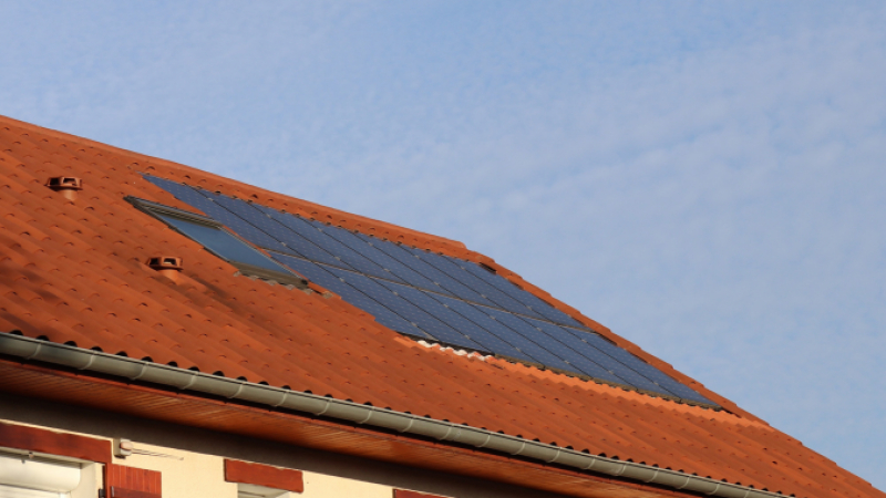 Solar panels on French property roof