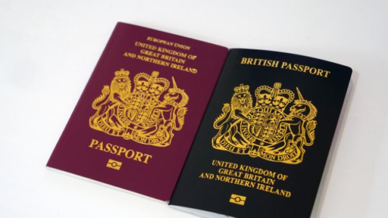 British passports shown side by side in burgundy and black colours