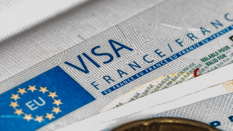A French visa in a passport