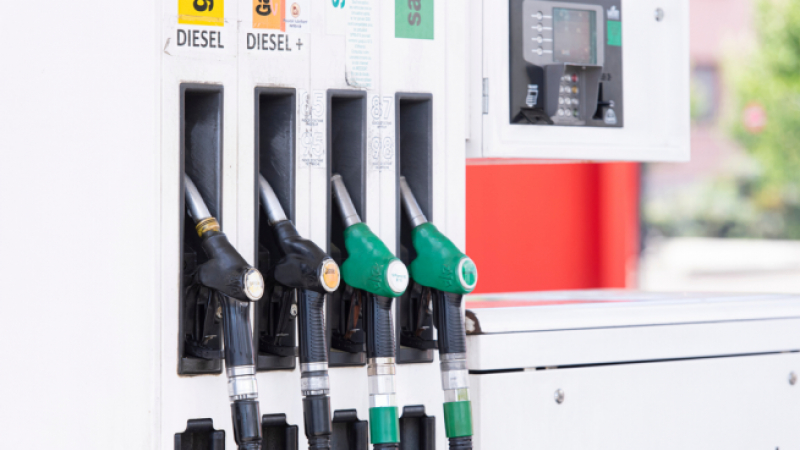 petrol pumps at a fuel station forecourt in France